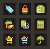 Het winkelen en van de Handel Pictogrammen royalty-vrije stock fotografie
