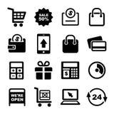 Het winkelen en van de Supermarktdiensten Geplaatste Pictogrammen Royalty-vrije Stock Foto's