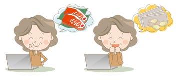 Het winkelen en zijzaken op Internet - hogere vrouwen royalty-vrije illustratie