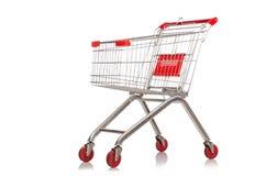 Het winkelen geïsoleerd supermarktkarretje Stock Fotografie
