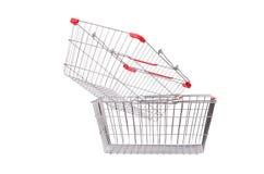 Het winkelen geïsoleerd supermarktkarretje Royalty-vrije Stock Foto's