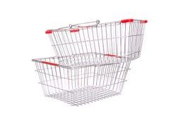 Het winkelen geïsoleerd supermarktkarretje Stock Foto's