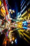 Het winkelen gebied bij nacht in Hongkong Royalty-vrije Stock Foto's