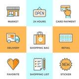 Het winkelen geplaatste de pictogrammen van de de dienstenlijn Stock Afbeelding