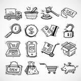 Het winkelen geplaatste de pictogrammen van de elektronische handelschets Stock Fotografie