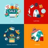 Het winkelen geplaatste kledings vlakke pictogrammen Stock Foto's