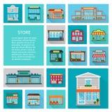 Het winkelen in geplaatste opslagpictogrammen Royalty-vrije Stock Afbeelding
