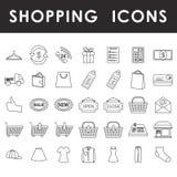 Het winkelen geplaatste overzichtspictogrammen Royalty-vrije Stock Foto's