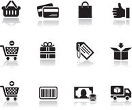 Het winkelen geplaatste pictogrammen Royalty-vrije Stock Foto's