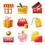 Het winkelen geplaatste pictogrammen Stock Afbeelding