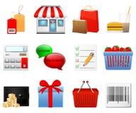 Het winkelen geplaatste pictogrammen Stock Afbeeldingen
