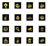 Het winkelen geplaatste pictogrammen Stock Foto's