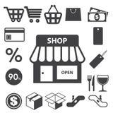 Het winkelen geplaatste pictogrammen. Illustratie Stock Afbeeldingen
