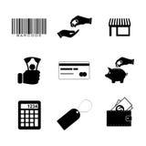 Het winkelen geplaatste pictogrammen Vector Royalty-vrije Stock Foto's
