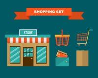 Het winkelen geplaatste pictogrammen Vlakke stijl Stock Afbeeldingen