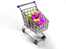 Het winkelen het karretje met pillen op witte 3d achtergrond, geeft terug Stock Foto