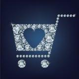Het winkelen het mandteken maakte heel wat diamanten Stock Fotografie