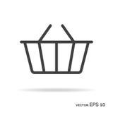 Het winkelen het pictogram zwarte kleur van het mandoverzicht Royalty-vrije Stock Foto