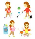 Het winkelen, het schoonmaken, het wassen, het koken vector illustratie