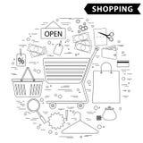 Het winkelen het vastgestelde zwarte wit van het lijnpictogram Royalty-vrije Stock Afbeeldingen