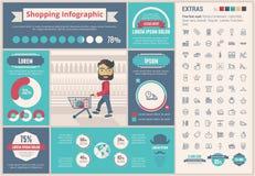 Het winkelen het vlakke Malplaatje van ontwerpinfographic Royalty-vrije Stock Afbeeldingen