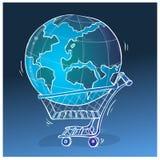 Het winkelen illustratie wereldwijd Stock Afbeeldingen