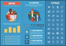 Het winkelen infographic malplaatje, elementen en pictogrammen Stock Foto's