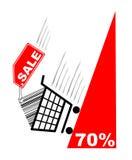 Het winkelen kaart met verkoopetiket en pecentual verkoop royalty-vrije illustratie