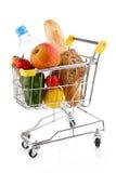 Het winkelen karretje en levensmiddelen Stock Afbeeldingen