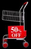 Het winkelen karretje met 50 percenten van teken Stock Foto