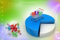 Het winkelen karretje met cirkeldiagram Stock Afbeeldingen