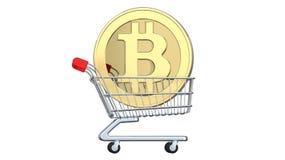 Het winkelen karretje met muntstukken bitcoin, het concept investering, uitwisselings of aankoopcryptocurrencygeld het 3d terugge Stock Foto's