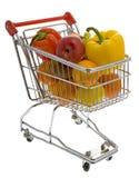Het winkelen karretje met vruchten en groenten Stock Afbeelding