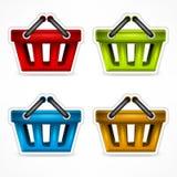 Het winkelen kleurenmanden Royalty-vrije Stock Foto's