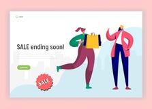 Het winkelen het Landingspagina van het Verkoopspitsuur Vrouw die met Zakken lopen om Laatste Kortingsgoederen te kopen Shopaholi royalty-vrije illustratie