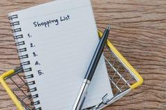 Het winkelen Lijst, controlelijst om dingen van supermarktconcept te kopen, Royalty-vrije Stock Afbeeldingen
