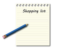 Het winkelen lijst met blauw potlood Royalty-vrije Stock Afbeeldingen