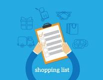 Het winkelen lijstillustratie stock illustratie
