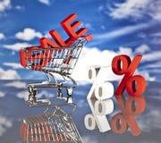 Het winkelen mand en verkoop Stock Afbeeldingen