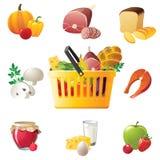 Het winkelen mand en voedselpictogrammen Royalty-vrije Stock Foto's