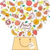 Het winkelen mand met fruit in vector De illustratie voor de plaats, de druk en het ontwerp vector illustratie