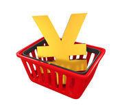 Het winkelen Mand met Japans Yen Sign Stock Foto's