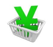 Het winkelen Mand met Japans Yen Sign Royalty-vrije Stock Foto's