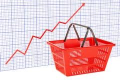 Het winkelen mand met het kweken van grafiek, het 3D teruggeven Royalty-vrije Stock Afbeeldingen