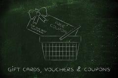 Het winkelen mand met reusachtige vrije coupon stock afbeeldingen