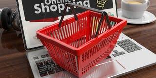 Het winkelen mand op laptop 3D Illustratie Stock Foto's