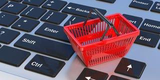 Het winkelen mand op laptop 3D Illustratie Stock Foto