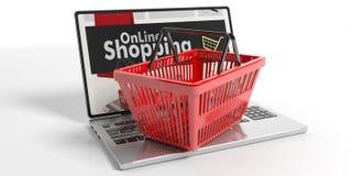 Het winkelen mand op laptop 3D Illustratie Stock Fotografie