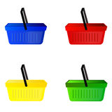 Het winkelen manden, blauw, groen rood, geel, vector stock afbeeldingen