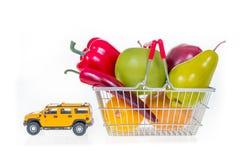 Het winkelen mandhoogtepunt met kruidenierswinkels door het beeld dat van het autoconcept worden getrokken Royalty-vrije Stock Fotografie